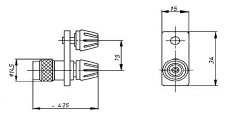 coax adapter TNC 50 Ohm plug on Laboratory Conection Banana