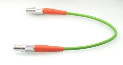 Video HDTV Verbindungskabel 0.6/2.8AF FRNC mit orangen Knickschutztüllen