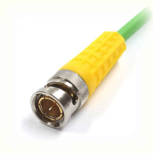 BNCslim Cable Plug with yellow rotary sleeve