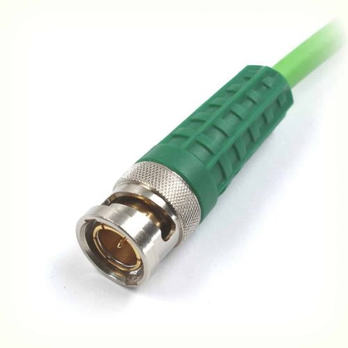 BNCslim Cable Plug with green rotary sleeve