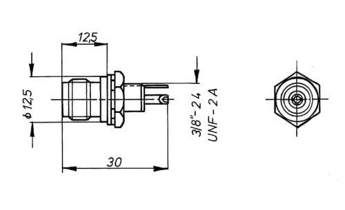 TNC 75 Ohm Panel Socket insulated